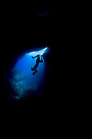 Freediving in a cave off the coast of Saipan