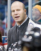 Greg Cronin (Northeastern - Head Coach) - The visiting Northeastern University Huskies defeated the University of Massachusetts-Lowell River Hawks 3-2 with 14 seconds remaining in overtime on Friday, February 11, 2011, at Tsongas Arena in Lowelll, Massachusetts.