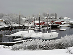 View of Camden Harbor after a snowfall. Camden, Knox County, Maine, USA