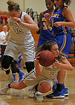 Thomaston, CT-121018MK08 Thomaston's Sydney Stevenson (1) passes in front of defense from Gilbert's Angelina Delacruz (11) Monday at Thomaston High School. Michael Kabelka / Republican-American
