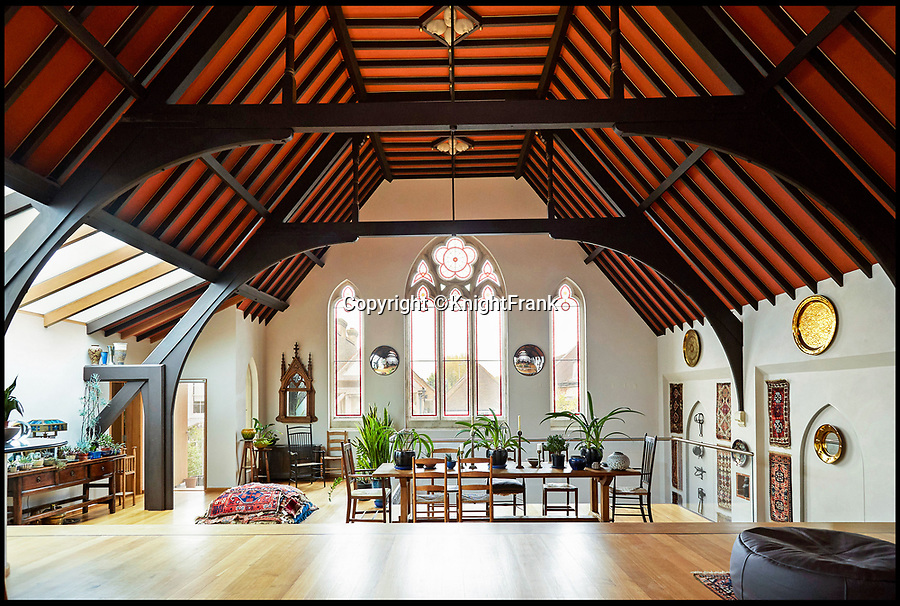 BNPS.co.uk (01202 558833)<br /> Pic: KnightFrank/BNPS<br /> <br /> Stunning transformation of a former chapel near Hampton Court in London.<br /> <br /> A former derelict chapel has been transformed into a heavenly home - and is now on the market with a guide price of £1.8m.<br /> <br /> When Keith Holmes, 73, bought the property in 1997 it was a complete wreck with missing tiles, woodworm and smashed stained glass windows. <br /> <br /> He had to completely gut the building before he could turn it into a stunning house and his labour of love took 16 years and about £800,000.<br /> <br /> Mr Holmes, an art restorer and painter, only finished his epic renovation about four years ago but has decided to sell so he can start a new project.<br /> <br /> This property is now on the market with Knight Frank.