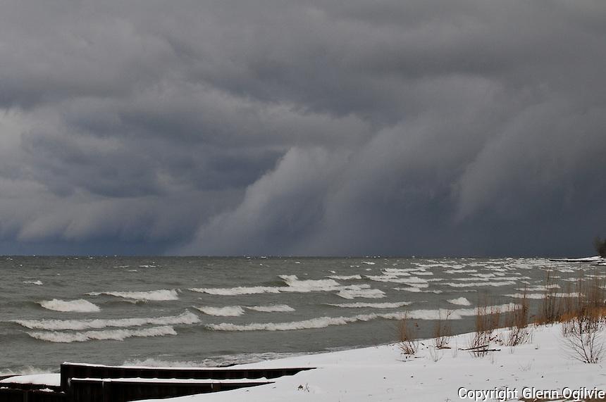 Snow squalls over Lake Huron from Canatara Park