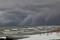 Snow squalls over Lake Huron from Canatara Park