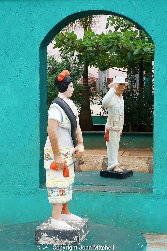 Humourous Mayan dancer statues in Santa Elena, Yucatan, Mexico.