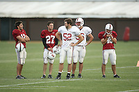 11 April 2007: Derek Belch, Jay Ottovegio, Brent Newhouse, Zach Nolan, and Leon Peralto during spring practice at the practice field in Stanford, CA.
