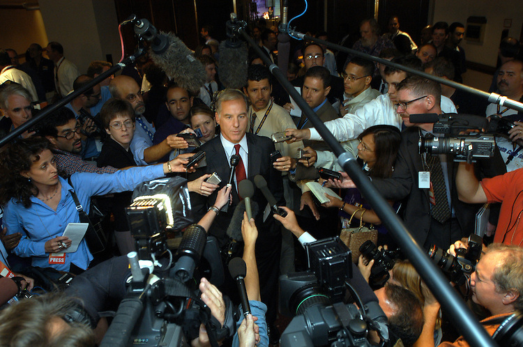 Fmr. Governor Howard Dean, a 2004 Democratic presidential candidate, speaks to the press after is speech at the Service Employees International Union political action convention in Washington, DC.