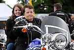 Imelda Elmes from Abbeydorney, County Kerry with her daughter Grace,  fulfills one of her 'bucket lists' getting a spin on the back of a Harley Davidson at Ireland Bikefest at the weekend.  Imelda was as pillion passenger aboard the 2000cc bike around the county with Michael Thompson of Celtic Thunder.<br /> Picture by Don MacMonagle