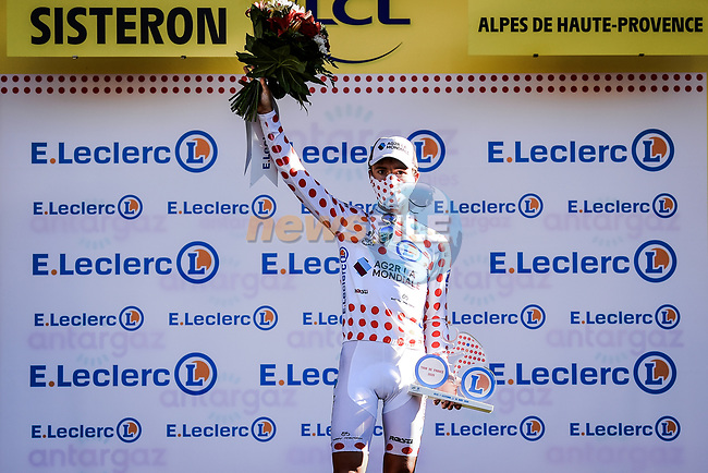 Benoit Cosnefroy (FRA) AG2R La Mondial retains the mountains Polka Dot Jersey at the end of Stage 3 of Tour de France 2020, running 198km from Nice to Sisteron, France. 31st August 2020.<br /> Picture: ASO/Pauline Ballet   Cyclefile<br /> All photos usage must carry mandatory copyright credit (© Cyclefile   ASO/Pauline Ballet)