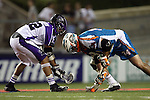 San Francisco Dragons vs Los Angeles Riptide.Lebard Stadium, Orange Coast College,Huntington Beach, California.Anthony Kelly (#34) and Greg Gurenlian (# 32).506P1096.JPG.CREDIT: Dirk Dewachter