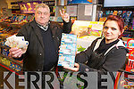 John O'Donoghue, Killarney, pictured with Karina Pietrala, Hegartys Supermerket, as he celebrated his second big win on Winning Streak in three and a half years, in Hegartys Supermarket, Park Road, Killarney, where he purchased the ticket....... ..........................