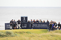 Matt Wallace (ENG) on the 3rd tee during Round 2 of the Alfred Dunhill Links Championship 2019 at Kingbarns Golf CLub, Fife, Scotland. 27/09/2019.<br /> Picture Thos Caffrey / Golffile.ie<br /> <br /> All photo usage must carry mandatory copyright credit (© Golffile | Thos Caffrey)