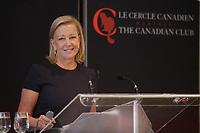 September 23 2013 -  BONNIE BROOKS, PRESIDENT OF HBC, HUDSON'S BAY COMPANY, DELIVERS A SPEECH TO THE CANADIAN CLUB OF MONTREAL.<br /> <br />  Hudson's Bay Company was founded by King Charles II of England, in 1670 and is one of the oldest continually operating companies in the world.<br /> <br /> Come and hear some of the highlights of this great company's history, and its reinvention in recent years to becoming one of the leading department stores in the world.<br /> <br /> Bonnie Brooks has been at the helm of Hudson's Bay since 2008, and she will share some of the insights of the journey, the strategy, and returning the company into Canadian public ownership with the IPO in 2012.  Also included in the journey was the integration of the famous Lord and Taylor banner, into HBC, which owns 48 stores in the northeast United States, and is the oldest department store in the USA, founded in 1825.  Together these two retail icons have over 500 years of retail! <br /> <br /> PHOTO :  Agence Quebec Presse