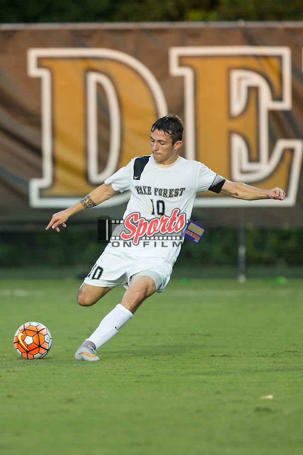 Michael Gamble (10) of the Wake Forest Demon Deacons kicks the ball during first half action against the Santa Clara Broncos at Spry Soccer Stadium on August 28, 2015 in Winston-Salem, North Carolina.  The Demon Deacons defeated the Broncos 1-0.  (Brian Westerholt/Sports On Film)