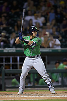 Alex Jackson (25) of the Gwinnett Braves at bat against the Charlotte Knights at BB&T BallPark on July 12, 2019 in Charlotte, North Carolina. The Stripers defeated the Knights 9-3. (Brian Westerholt/Four Seam Images)