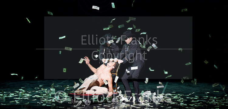 Eifman Ballet<br /> Up &amp; Down<br /> UK Premiere at the  London Coliseum, London, Great Britain <br /> 6th December 2016 <br />  <br /> <br />  <br /> Eifman Ballet return to the UK with the premiere of Artistic Director Boris Eifman&rsquo;s ballet Up &amp; Down. In this photo call, the company will be performing fully lit and costumed scenes from the production.<br />  <br /> Oleg Gabyshev<br /> <br /> <br />  <br /> Taking place in the magnificent Jazz Age &ndash; the piece evokes the unstoppable feast of life; the era of freedom, sensuality, and hedonism. This special visit will also be a celebration of the internationally renowned Company&rsquo;s 40th anniversary.<br /> <br /> Based on the 1934 F. Scott Fitzgerald novel &lsquo;Tender Is the Night&rsquo;, Up &amp; Down follows the rise and fall of a promising young psychoanalyst and one of his patients; presenting the bizarre kaleidoscope of obsessions, fears and fragments of patients&rsquo; minds. The characters&rsquo; own ups and downs masterfully recreated by Boris Eifman and his dancers.<br /> <br /> <br /> <br /> <br /> Photograph by Elliott Franks <br /> Image licensed to Elliott Franks Photography Services