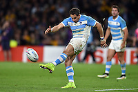 Joaquin Tuculet of Argentina kicks for territory. Rugby World Cup Semi Final between Argentina v Australia on October 25, 2015 at Twickenham Stadium in London, England. Photo by: Patrick Khachfe / Onside Images