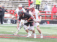 College Park, MD - April 15, 2018: Rutgers Scarlet Knights Joe Francisco (1) tries to get the ground ball during game between Rutgers and Maryland at  Capital One Field at Maryland Stadium in College Park, MD.  (Photo by Elliott Brown/Media Images International)