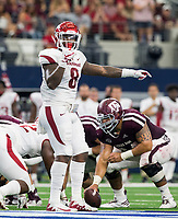 Hawgs Illustrated/Ben Goff<br /> De'Jon Harris, Arkansas linebacker, in the 2nd quarter vs Texas A&M Saturday, Sept. 29, 2018, during the Southwest Classic at AT&T Stadium in Arlington, Texas.