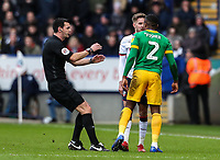 Referee Andrew Madley steps in to separate Bolton Wanderers' Craig Noone and Preston North End's Darnell Fisher<br /> <br /> Photographer Andrew Kearns/CameraSport<br /> <br /> The EFL Sky Bet Championship - Bolton Wanderers v Preston North End - Saturday 9th February 2019 - University of Bolton Stadium - Bolton<br /> <br /> World Copyright © 2019 CameraSport. All rights reserved. 43 Linden Ave. Countesthorpe. Leicester. England. LE8 5PG - Tel: +44 (0) 116 277 4147 - admin@camerasport.com - www.camerasport.com