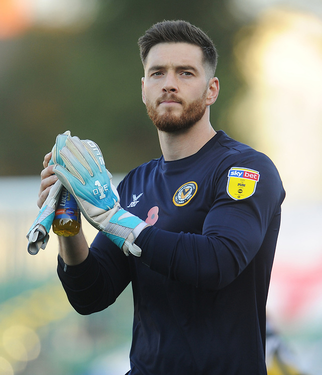 Newport County's Joe Day<br /> <br /> Photographer Kevin Barnes/CameraSport<br /> <br /> The EFL Sky Bet League Two - Newport County v Colchester United - Saturday 17th November 2018 - Rodney Parade - Newport<br /> <br /> World Copyright © 2018 CameraSport. All rights reserved. 43 Linden Ave. Countesthorpe. Leicester. England. LE8 5PG - Tel: +44 (0) 116 277 4147 - admin@camerasport.com - www.camerasport.com