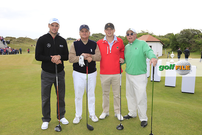 Martin Kaymer (GER) with Jimmy and Seamus Dunne and John Bannon on the 1st tee during the Pro-Am of the 2015 Dubai Duty Free Irish Open, Royal County Down Golf Club, Newcastle Co Down, Northern Ireland. 27/05/2015 <br /> Picture Eoin Clarke, www.golffile.ie