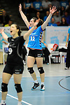 Rüsselsheim, Germany, April 13: Karine Muijlwijk #11 of the VC Wiesbaden celebrates after winning a point during play off Game 1 in the best of three series in the semifinal of the DVL (Deutsche Volleyball-Bundesliga Damen) season 2013/2014 between the VC Wiesbaden and the Rote Raben Vilsbiburg on April 13, 2014 at Grosssporthalle in Rüsselsheim, Germany. Final score 0:3 (Photo by Dirk Markgraf / www.265-images.com) *** Local caption ***