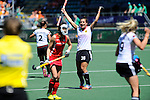 The Hague, Netherlands, June 13: Julia Mueller #28 of Germany celebrates after scoring during the field hockey placement match (Women - Place 7th/8th) between Korea and Germany on June 13, 2014 during the World Cup 2014 at Kyocera Stadium in The Hague, Netherlands. Final score 4-2 (2-0)  (Photo by Dirk Markgraf / www.265-images.com) *** Local caption ***