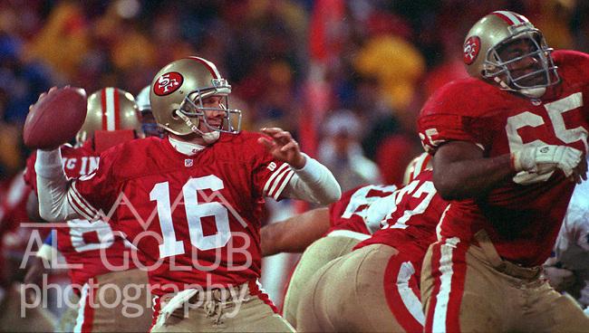 San Francisco 49ers vs. Detroit Lions at Candlestick Park Monday, December 28, 1992.  49ers Beat Lions 24-6.  San Francisco 49ers quarterback Joe Montana (16).