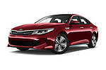Stock pictures of low aggressive front three quarter view of a 2017 KIA Optima Plug-In Hybrid Fusion 4 Door Sedan