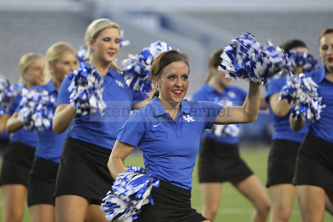 The UK dance team performs at Big Blue U at Commonwealth Stadium on Saturday, August 18, 2012. Students were invited to come learn the cheers and fight song and then pose for a picture on the field. Photo by Tessa Lighty | Staff