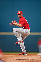 Palm Beach Cardinals starting pitcher Junior Fernandez (32) during a game against the Bradenton Marauders on August 9, 2016 at McKechnie Field in Bradenton, Florida.  Bradenton defeated Palm Beach 8-7.  (Mike Janes/Four Seam Images)