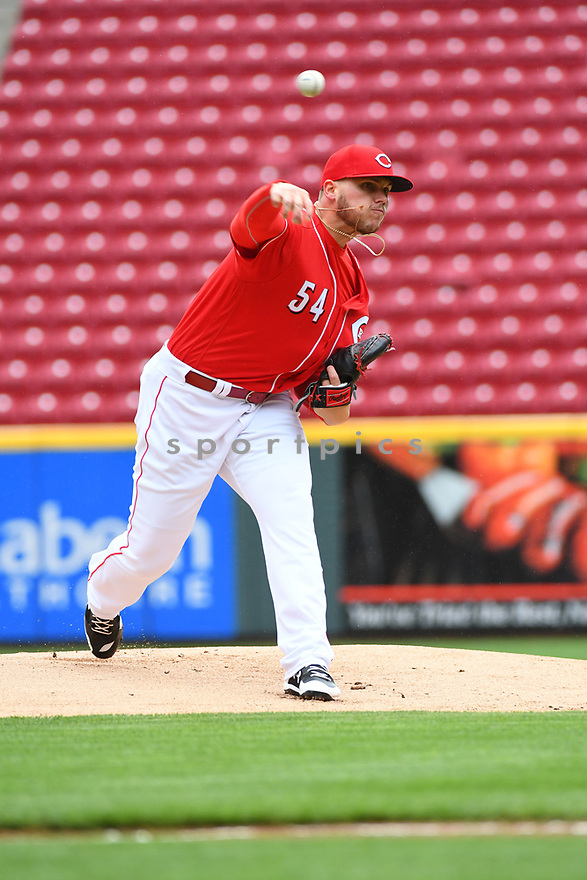Cincinnati Reds Rookie Davis (54) during a game against the Philadelphia Phillies on April 6, 2017 at Great American Ballpark in Cincinnati, OH. The Reds beat the Phillies 4-7.