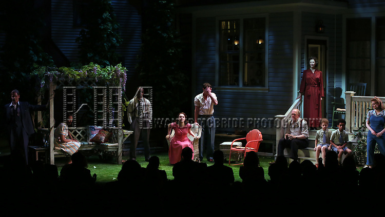 """Michael Hayden, Chinasa Ogbuagu, Hampton Fluker, Francesca Carpanini, Benjamin Walker, Tracy Letts, Annette Bening, Monte Green, Alexander Bello and Jenni Barber during the Broadway Opening Night Curtain Call for """"All My Sons"""" at The American Airlines Theatre on April 22, 2019  in New York City."""