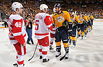 NASHVILLE, TN - APRIL 20: Nicklas Lidstrom #5 of the Detroit Red Wings shakes hands with Shea Weber #6 of the Nashville Predators in Game Five of the Western Conference Quarterfinals during the 2012 NHL Stanley Cup Playoffs at the Bridgestone Arena on April 20, 2012 in Nashville, Tennessee. (Photo by John Russell/NHLI via Getty Images) *** Local Caption *** Nicklas Lidstrom;Shea Weber