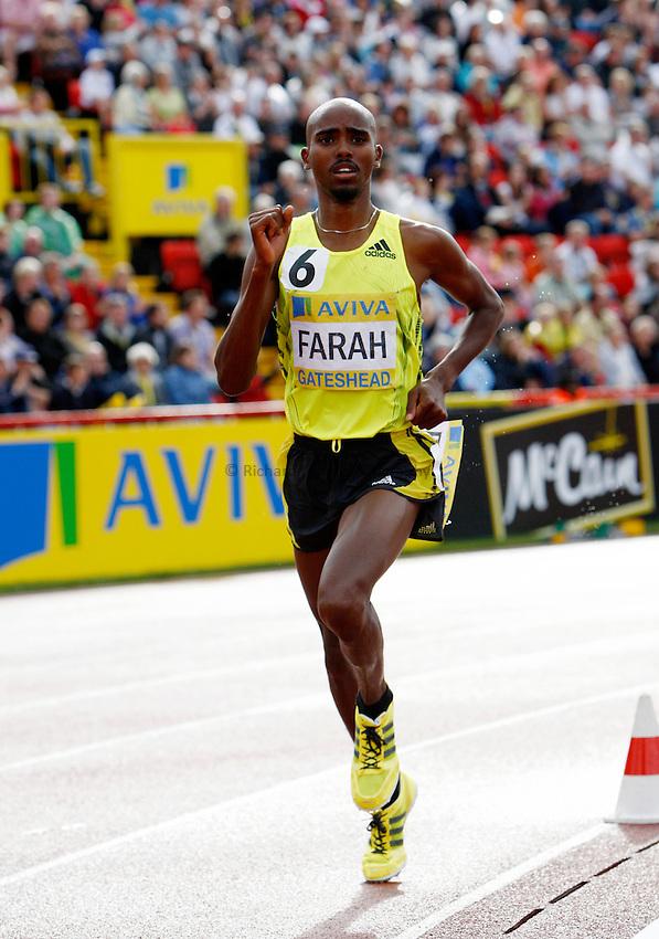 Photo: Richard Lane/Richard Lane Photography..Aviva British Grand Prix. 31/08/2009. Great Britain's Mo Farah the men's 3000m.