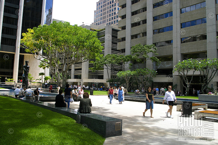 Tamarind Park, located in the heart of downtown Honolulu, has food courts shade trees and tranquil water pools for busy workers in need of a place to relax. Oahu.