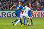 10.08.2019, wohninvest Weserstadion, Bremen, GER, DFB-Pokal, 1. Runde, SV Atlas Delmenhorst vs SV Werder Bremen<br /> <br /> DFB REGULATIONS PROHIBIT ANY USE OF PHOTOGRAPHS AS IMAGE SEQUENCES AND/OR QUASI-VIDEO.<br /> <br /> im Bild / picture shows<br /> <br /> Tom Schmidt (SV Atlas Delmenhorst #08)<br /> Marco Friedl (Werder Bremen #32)<br /> Marlo Siech (SV Atlas Delmenhorst #30)<br /> Foto © nordphoto / Kokenge