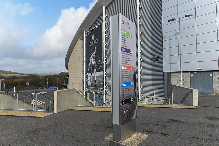 The Amex Stadium <br /> <br /> Photographer David Horton/CameraSport<br /> <br /> The Premier League - Brighton and Hove Albion v Burnley - Saturday 9th February 2019 - The Amex Stadium - Brighton<br /> <br /> World Copyright &copy; 2019 CameraSport. All rights reserved. 43 Linden Ave. Countesthorpe. Leicester. England. LE8 5PG - Tel: +44 (0) 116 277 4147 - admin@camerasport.com - www.camerasport.com