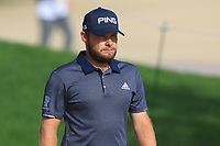 Tyrrell Hatton (ENG) on the 3rd tee during Round 3 of the Omega Dubai Desert Classic, Emirates Golf Club, Dubai,  United Arab Emirates. 26/01/2019<br /> Picture: Golffile | Thos Caffrey<br /> <br /> <br /> All photo usage must carry mandatory copyright credit (© Golffile | Thos Caffrey)