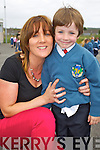 Teacher Mrs Siobhan Meehan pictured with her son Breandán pictured on his first day of school at Balloonagh primary, Tralee on Thursday.