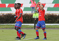 IPIALES - COLOMBIA, 05-06-2019: Jown Cardona del Pasto celebra después de anotar el segundo gol de su equipo partido por la fecha 6, cuadrangulares semifinales, de la Liga Águila I 2019 entre Deportivo Pasto y Unión Magdalena jugado en el estadio Estadio Municipal de Ipiales. / Jown Cardona of Pasto celebrates after scoring the second goal of his team during match for the date 6, semifinal quadrangulars, as part of Aguila League I 2019 between Deportivo Pasto and Union Magdalena played at Municipal stadium of Ipiales.  Photo: VizzorImage / Leonardo Castro / Cont