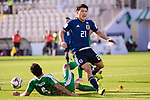 Doan Ritsu of Japan (R) fights for the ball with Ylyasov Vezirgeldi of Turkmenistan (L) during the AFC Asian Cup UAE 2019 Group F match between Japan (JPN) and Turkmenistan (TKM) at Al Nahyan Stadium on 09 January 2019 in Abu Dhabi, United Arab Emirates. Photo by Marcio Rodrigo Machado / Power Sport Images