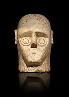 9th century BC Giants of Mont'e Prama Nuragic stone head from the statue of a boxer, Mont'e Prama archaeological site, Cabras. Museo archeologico nazionale, Cagliari, Italy. (National Archaeological Museum) - Black Background