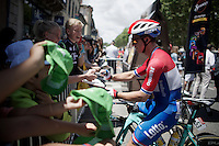 Dutch Champion Dylan Groenewegen (NLD/LottoNL-Jumbo) signing autographs to dutch fans before the stage<br /> <br /> stage 11: Carcassonne - Montpellier (162km)<br /> 103rd Tour de France 2016