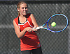 Hailey Stoerback of Smithtown East returns a shot during the Suffolk County girls tennis Division I doubles final against Half Hollow Hills East at Half Hollow Hills West High School on Tuesday, Oct. 11, 2016.