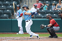 Drew Maggi (7) of the Columbus Clippers follows through on his swing against the Indianapolis Indians at Huntington Park on June 17, 2018 in Columbus, Ohio. The Indians defeated the Clippers 6-3.  (Brian Westerholt/Four Seam Images)