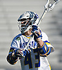 Ryan Tierney #43 of Hofstra University takes a pass behind the net during an NCAA Division I men's lacrosse game against Monmouth at Shuart Stadium in Hempstead, NY on Saturday, Feb. 18, 2017. Tierney, a freshman and 2016 All-American at Massapequa High School, scored three times in his collegiate debut. Hofstra won 11-9.