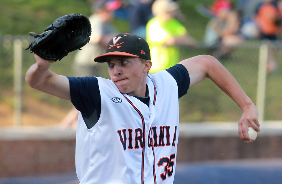 Virginia pitcher David Rosenberger (35) throws a pitch during the game against George Washington Wednesday at Davenport Stadium in Charlottesville, VA. Photo/The Daily Progress/Andrew Shurtleff