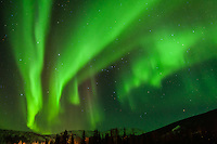 North America, USA, Alaska, outside Fairbanks. Aurora borealis or northern lights.
