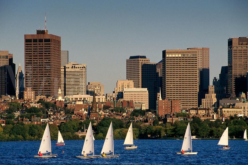 Massachusetts, Boston; Collegiate Sailing On Charles River; Back Bay & Boston Skyline In Backgroun